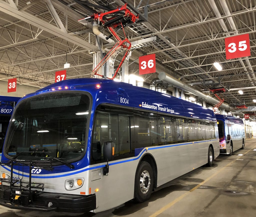 Edmonton Ets Proterra Electric Bus With Overhead Charger